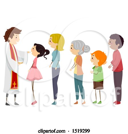 Clipart of a Priest and Line of People for Holy Communion - Royalty Free Vector Illustration by BNP Design Studio