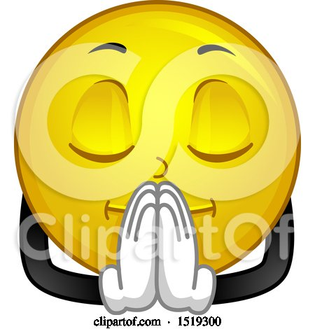 Clipart of a Yellow Smiley Emoji Praying - Royalty Free Vector Illustration by BNP Design Studio