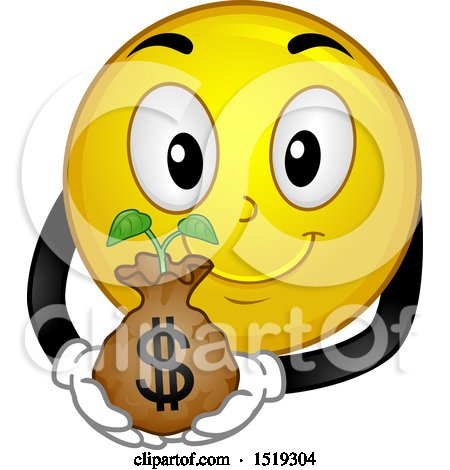 Smiley Woman Holding Money And Pointing Up. Isolated On ... |Smiley Face Holding Money