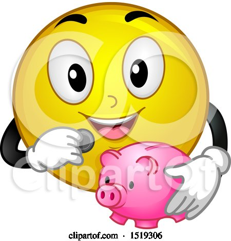 Clipart of a Yellow Smiley Emoji Depositing a Coin in a Piggy Bank - Royalty Free Vector Illustration by BNP Design Studio
