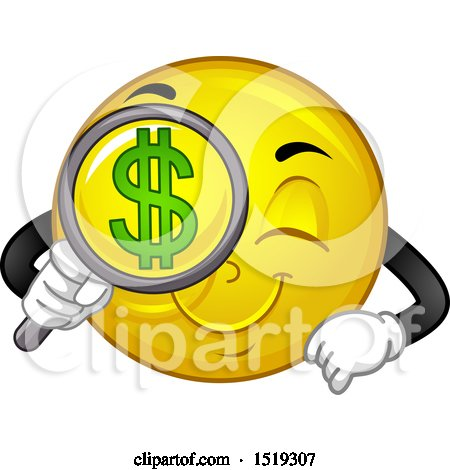 Clipart of a Yellow Smiley Emoji Searching for Money - Royalty Free Vector Illustration by BNP Design Studio