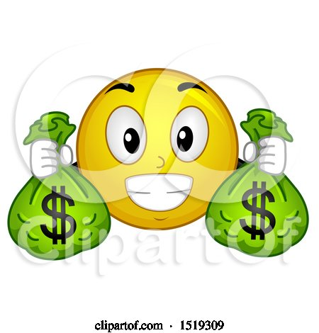 Clipart of a Yellow Smiley Emoji Holding Money Bags - Royalty Free Vector Illustration by BNP Design Studio