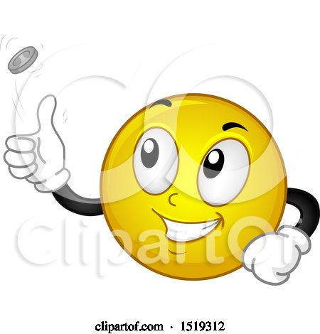 Clipart of a Yellow Smiley Emoji Flipping a Coin - Royalty Free Vector Illustration by BNP Design Studio