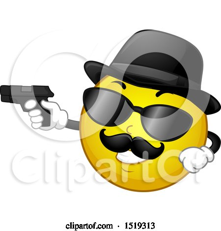 Clipart of a Yellow Smiley Emoji Moster Pointing a Gun - Royalty Free Vector Illustration by BNP Design Studio
