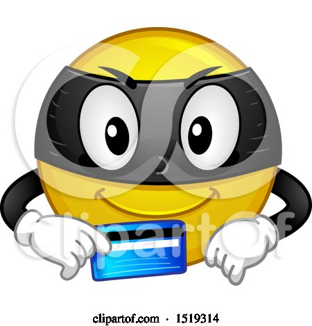 Clipart of a Yellow Smiley Emoji Thief Holding a Credit Card - Royalty Free Vector Illustration by BNP Design Studio
