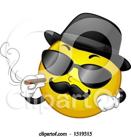 Clipart of a Yellow Smiley Emoji Magifa Gangster Smoking a Cigar - Royalty Free Vector Illustration by BNP Design Studio
