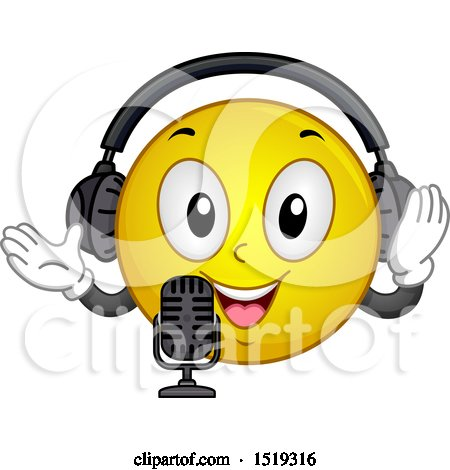 Clipart of a Yellow Smiley Emoji Wearing Headphones and Talking into a Microphone - Royalty Free Vector Illustration by BNP Design Studio