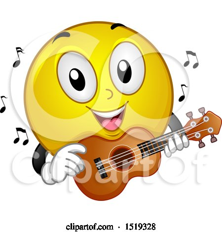 Clipart of a Yellow Smiley Emoji Playing a Ukulele - Royalty Free Vector Illustration by BNP Design Studio