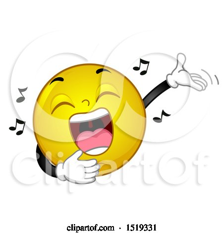 Clipart of a Yellow Smiley Emoji Singing and Presenting - Royalty Free Vector Illustration by BNP Design Studio