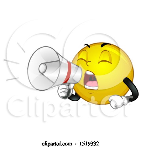 Clipart of a Yellow Smiley Emoji Using a Bullhorn - Royalty Free Vector Illustration by BNP Design Studio
