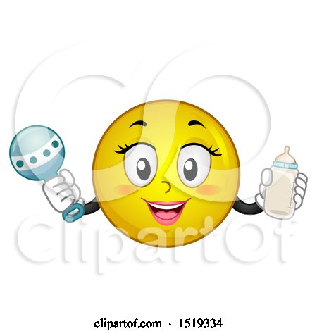 Clipart of a Yellow Smiley Emoji Mom Holding a Baby Bottle and Rattle - Royalty Free Vector Illustration by BNP Design Studio