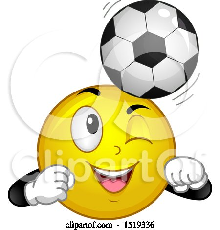 Clipart of a Yellow Smiley Emoji Bouncing a Soccer Ball on His Head - Royalty Free Vector Illustration by BNP Design Studio