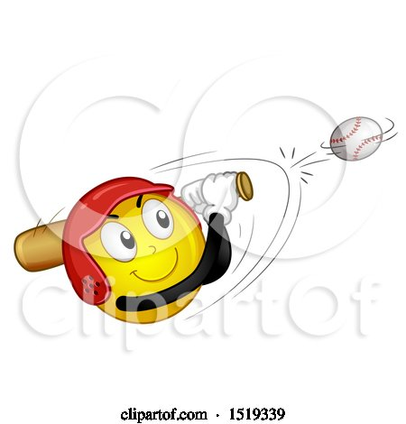 Clipart of a Yellow Smiley Emoji Hitting a Baseball - Royalty Free Vector Illustration by BNP Design Studio