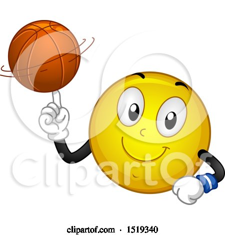 Clipart of a Yellow Smiley Emoji Spinning a Basketball on His Finger - Royalty Free Vector Illustration by BNP Design Studio