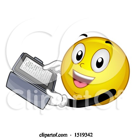 Clipart of a Yellow Smiley Emoji Reading an Ebook - Royalty Free Vector Illustration by BNP Design Studio