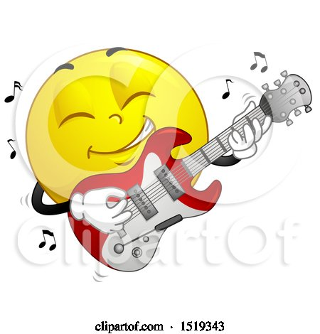 Clipart of a Yellow Smiley Emoji Playing an Electric Guitar - Royalty Free Vector Illustration by BNP Design Studio