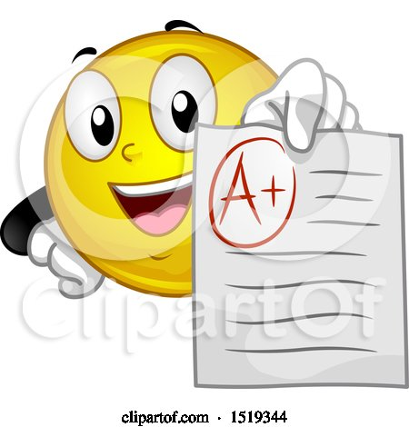 Clipart of a Yellow Smiley Emoji Student Holding out an a Graded Paper - Royalty Free Vector Illustration by BNP Design Studio