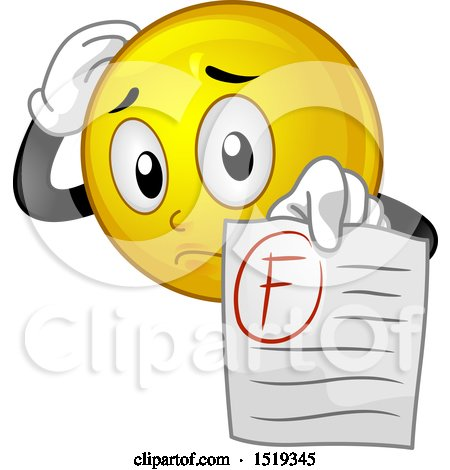 Clipart of a Yellow Smiley Emoji Student Holding out a F Graded Paper - Royalty Free Vector Illustration by BNP Design Studio