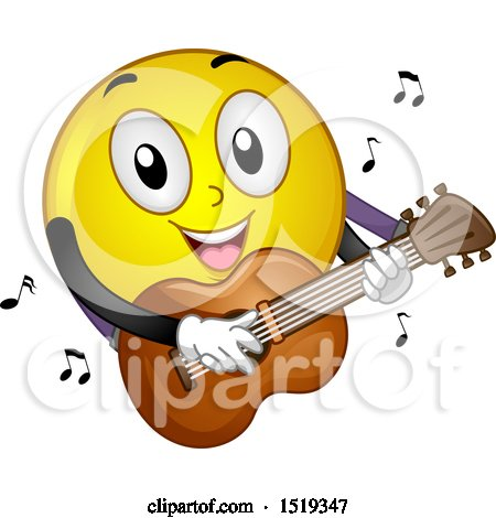Clipart of a Yellow Smiley Emoji Playing a Guitar - Royalty Free Vector Illustration by BNP Design Studio