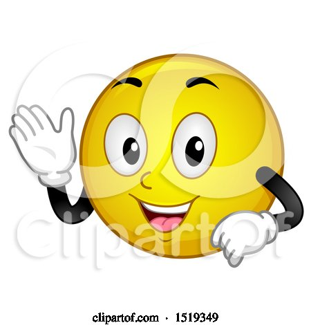 Clipart of a Yellow Smiley Emoji Waving - Royalty Free Vector Illustration by BNP Design Studio