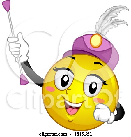 Clipart of a Yellow Smiley Emoji Majorette Holding a Baton - Royalty Free Vector Illustration by BNP Design Studio