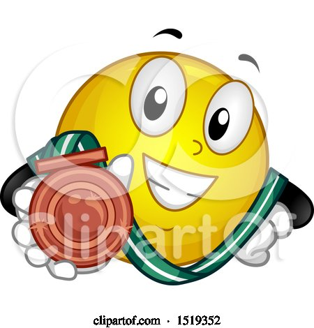 Clipart of a Yellow Smiley Emoji Showing a Bronze Medal - Royalty Free Vector Illustration by BNP Design Studio