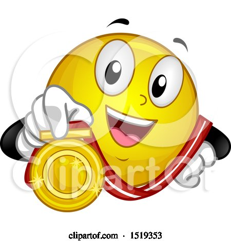 Clipart of a Yellow Smiley Emoji Showing a Gold Medal - Royalty Free Vector Illustration by BNP Design Studio