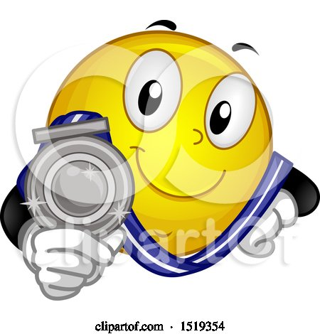 Clipart of a Yellow Smiley Emoji Showing a Silver Medal - Royalty Free Vector Illustration by BNP Design Studio