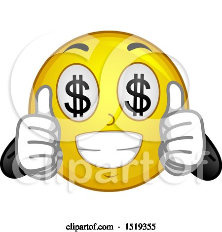 Clipart of a Yellow Smiley Emoji with Dollar Sign Eyes - Royalty Free Vector Illustration by BNP Design Studio