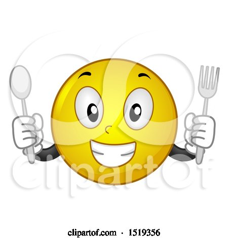Clipart of a Yellow Smiley Emoji Holding a Fork and Spoon - Royalty Free Vector Illustration by BNP Design Studio