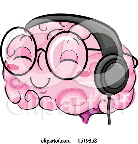 Clipart of a Brain Character Wearing Heapphones - Royalty Free Vector Illustration by BNP Design Studio
