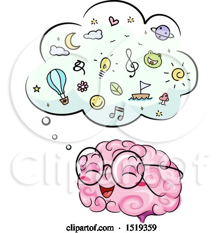 Clipart of a Brain Character with a Full Thought Cloud - Royalty Free Vector Illustration by BNP Design Studio
