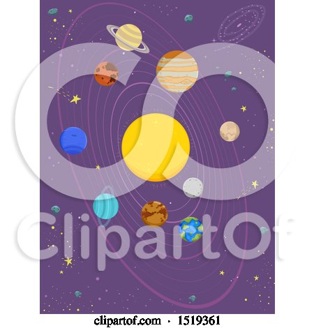 Clipart of a Starry Sky with the Solar System with the Sun, Mercury, Venus, Earth, Mars, Jupiter, Saturn, Uranus and Ninth Planet Pluto - Royalty Free Vector Illustration by BNP Design Studio