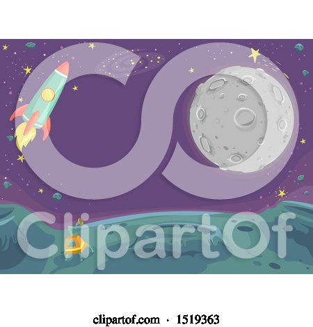 Clipart of a Moon and Rocket over an Alien Planet - Royalty Free Vector Illustration by BNP Design Studio