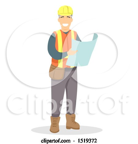 Clipart of a Happy Engineer Reading Blueprints - Royalty Free Vector Illustration by BNP Design Studio