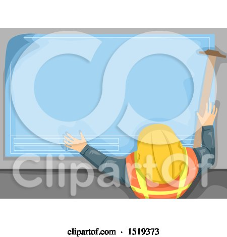 Clipart of an Engineer with Blueprints and a Tsquare - Royalty Free Vector Illustration by BNP Design Studio