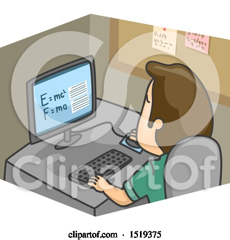 Clipart of a Cartoon Man Researching Formula of Physics - Royalty Free Vector Illustration by BNP Design Studio
