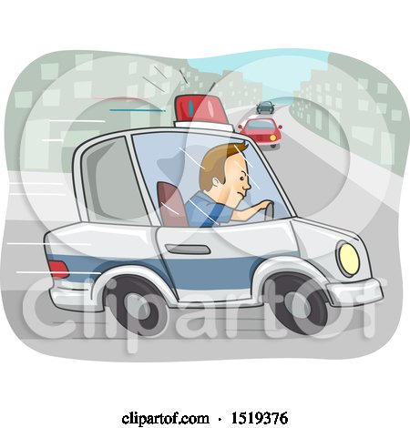 Clipart of a Police Officer in Pursuit in a Car - Royalty Free Vector Illustration by BNP Design Studio