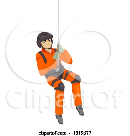 Clipart of a Search and Rescue Man Suspended in a Harness - Royalty Free Vector Illustration by BNP Design Studio