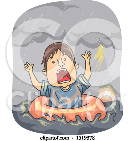 Clipart of a Cartoon Man in an Inner Tube During a Flood - Royalty Free Vector Illustration by BNP Design Studio