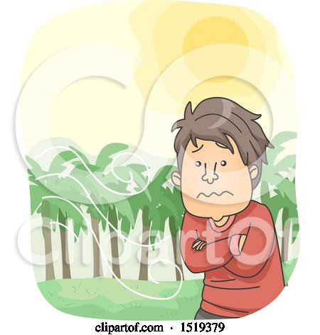 Clipart of a Cartoon Man Looking Uncomfortable in Hot Windy Weather - Royalty Free Vector Illustration by BNP Design Studio