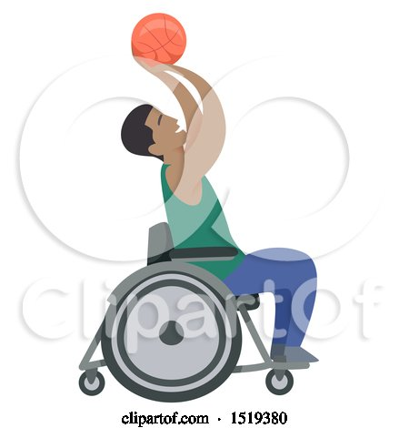 Clipart of a Black Basketball Player in a Wheelchair - Royalty Free Vector Illustration by BNP Design Studio