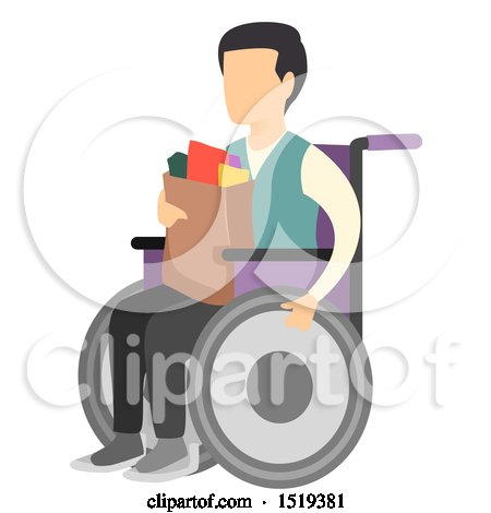 Clipart of a Wheelchaired Man Carrying Groceries - Royalty Free Vector Illustration by BNP Design Studio