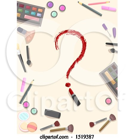 Clipart of a Lipstick Question Mark in a Border of Makeup - Royalty Free Vector Illustration by BNP Design Studio