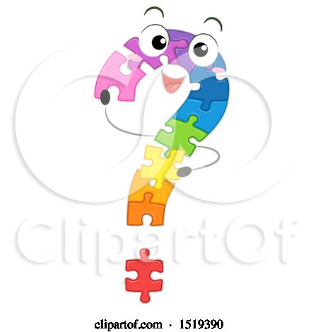 Clipart of a Colorful Jigsaw Puzzle Question Mark - Royalty Free Vector Illustration by BNP Design Studio