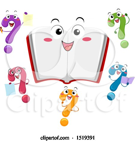 Clipart of a Happy Open Book Character Surrounded by Colorful Question Marks - Royalty Free Vector Illustration by BNP Design Studio