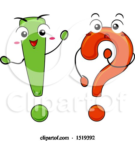 Clipart of a Question Mark and Exclamation Point Waving and Thinking - Royalty Free Vector Illustration by BNP Design Studio