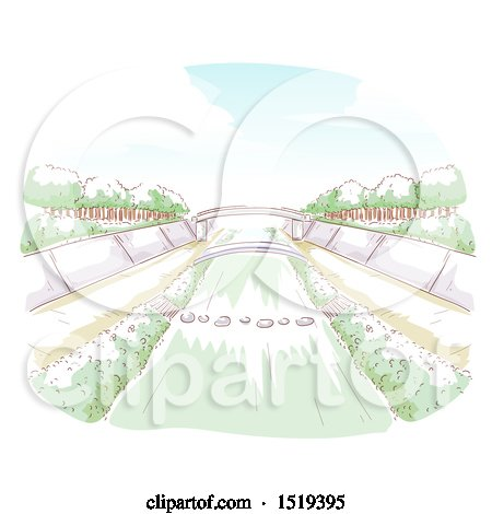 Clipart of a Water Way and a Bridge - Royalty Free Vector Illustration by BNP Design Studio