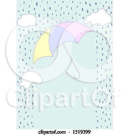 Clipart of a Border of Rain, Clouds and an Umbrella - Royalty Free Vector Illustration by BNP Design Studio