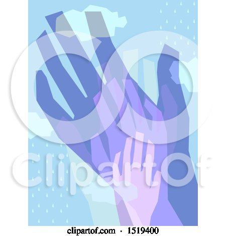 Clipart of Layered Hands over Rain - Royalty Free Vector Illustration by BNP Design Studio